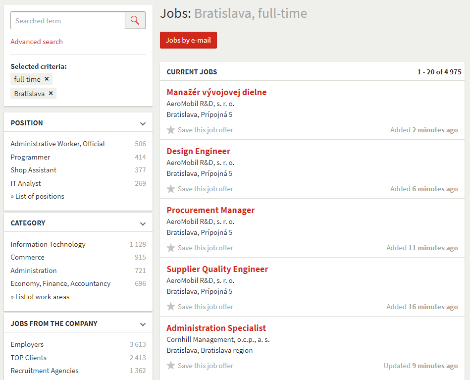 Faceted search - List of job offers - Profesia.sk
